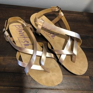 Blowfish Strappy Sandals Size 11 Rose Gold